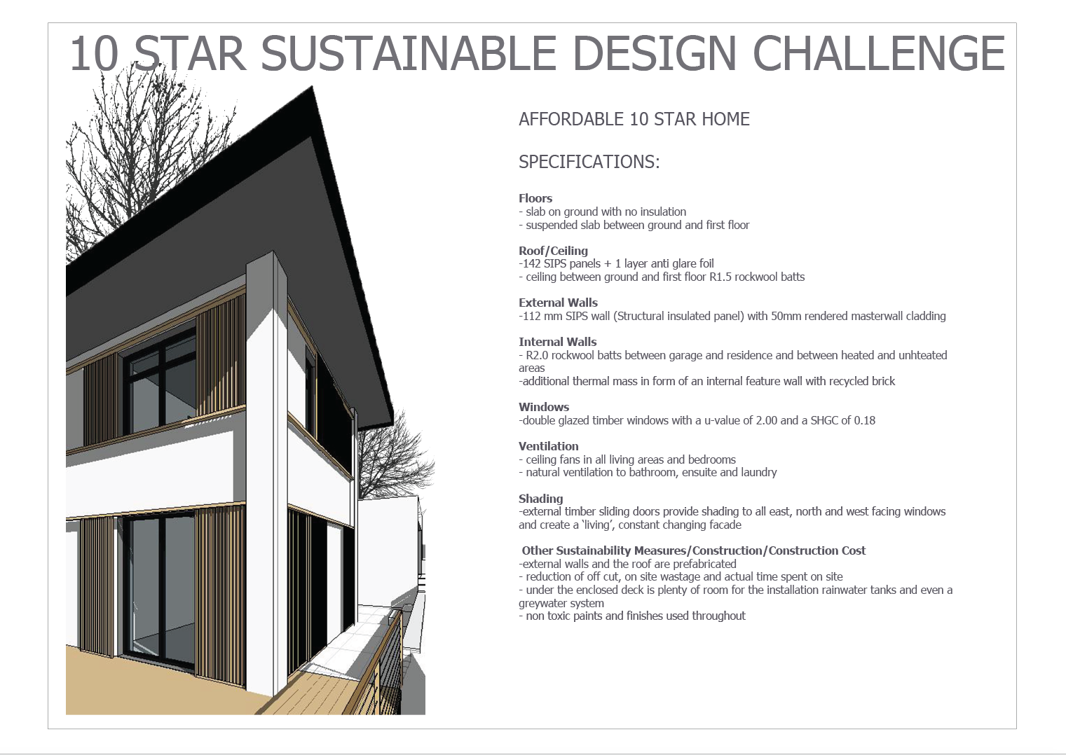 BDAV Best 10 Star Sustainable Design Challenge Entry 2015
